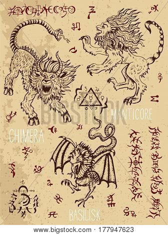Monsters collection with occult and mystic symbols. Hand drawn engraved vector illustration. There is no foreign text in the image, all symbols are imaginary and fantasy ones