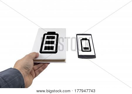 Low Battery Problem Concept. Book Vs Phone