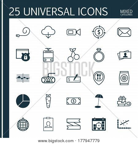Set Of 25 Universal Editable Icons. Can Be Used For Web, Mobile And App Design. Includes Elements Such As Save Data, Computer Keypad, Toboggan And More.