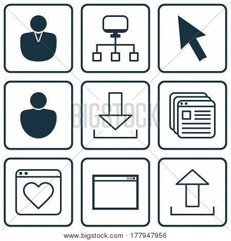 Set Of 9 Web Icons. Includes Followed Website, Human, Login And Other Symbols. Beautiful Design Elements.