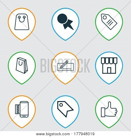 Set Of 9 E-Commerce Icons. Includes Ticket, Mobile Service, Discount Coupon And Other Symbols. Beautiful Design Elements.