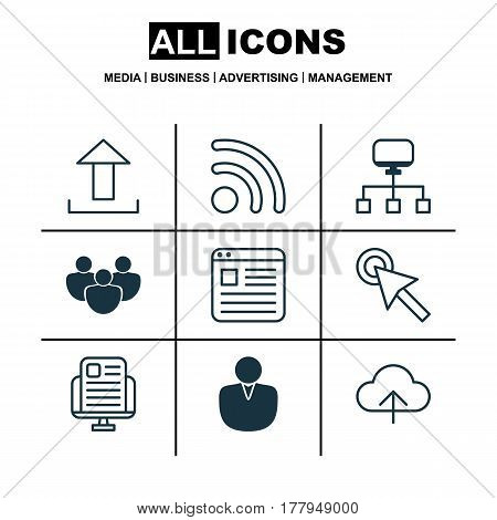 Set Of 9 World Wide Web Icons. Includes Data Synchronize, Cursor Tap, Send Data And Other Symbols. Beautiful Design Elements.