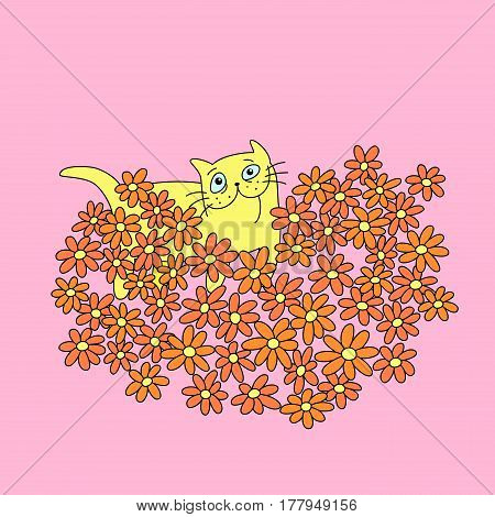 cat with a bouquet of flowers in heart shape. funny cartoon cool love character. pink color background. vector illustration