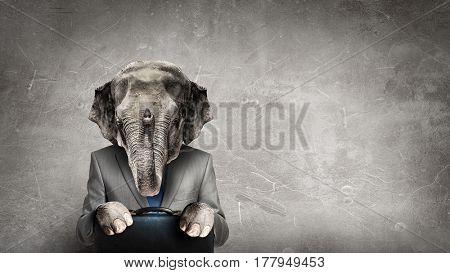 Elephant dressed in business suit . Mixed media