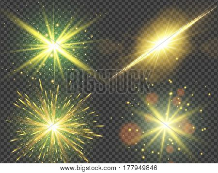 Gold glitter lights effects, Star burst with sparkles, Vector illustration