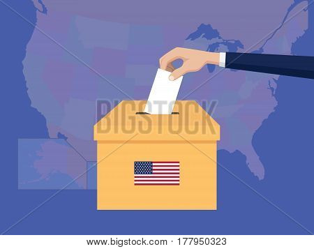 united states usa america election vote concept illustration with people voter hand gives votes insert to boxes election with long shadow flat style vector
