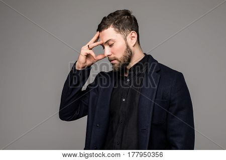Businessman Stressed Pressure Headache Worry Isolated On Grey