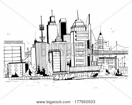 Megalopolis city, street illustration, Hand drawn sketch landscape with buildings, cityscape, office in outline style. retro postcard design.