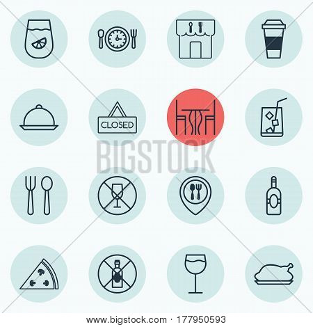 Set Of 16 Eating Icons. Includes Dining Room, Alcohol Forbid, Meal Hour And Other Symbols. Beautiful Design Elements.