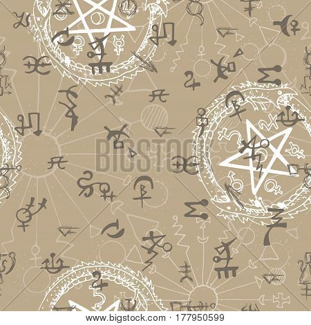 Seamless background with mystic and occult symbols. Hand drawn vector illustration. There is no foreign text in the image, all symbols are imaginary and fantasy ones