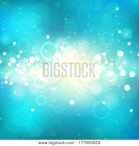 Shining background with light effects. Blue burst. Magic defocused glitter sparkles. Blurred soft backdrop. Vector illustration. EPS10