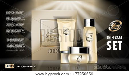 Digital vector yellow skin care cream and lotion cosmetic container set mockup collection, your brand package, ready for print ads or magazine design. Transparent and shine, realistic 3d style