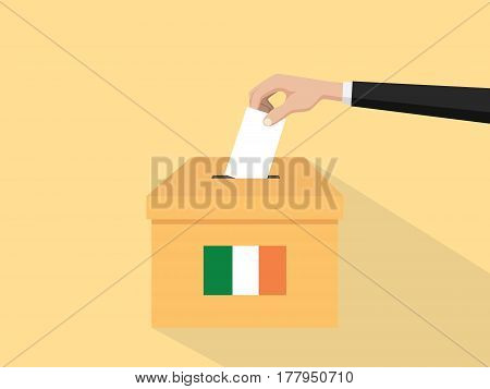 ireland election vote concept illustration with people voter hand gives votes insert to boxes election with long shadow flat style vector
