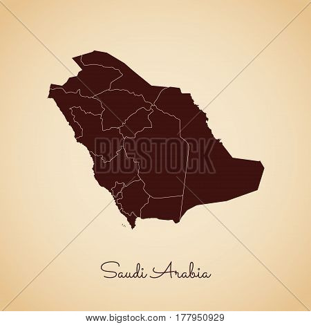 Saudi Arabia Region Map: Retro Style Brown Outline On Old Paper Background. Detailed Map Of Saudi Ar