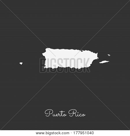 Puerto Rico Region Map: White Outline On Grey Background. Detailed Map Of Puerto Rico Regions. Vecto