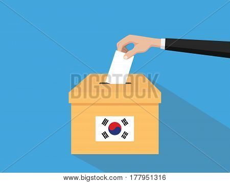 korea election vote concept illustration with people voter hand gives votes insert to boxes election with long shadow flat style vector