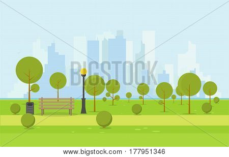 City park wooden bench lawn and trees trash can. Flat style illustration. On background business city center with skyscrapers and large buildings river. Green park vegetation in center of big town