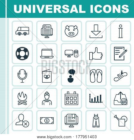 Set Of 25 Universal Editable Icons. Can Be Used For Web, Mobile And App Design. Includes Elements Such As Opinion Analysis, Calendar, Notebook And More.