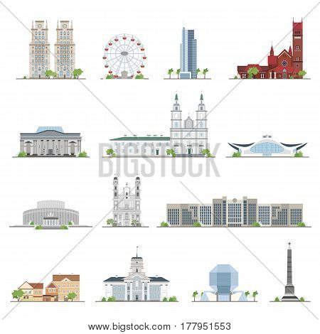 Set of Minsk city buildings, famous places in flat style, illustration collection.