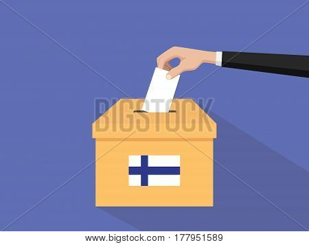 finland election vote concept illustration with people voter hand gives votes insert to boxes election with long shadow flat style vector