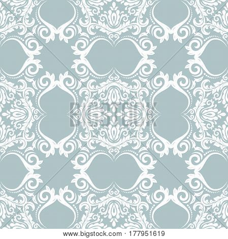 Seamless baroque blue and white pattern. Traditional classic orient ornament