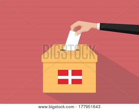 denmark vote election concept illustration with people voter hand gives votes insert to boxes election with long shadow flat style vector