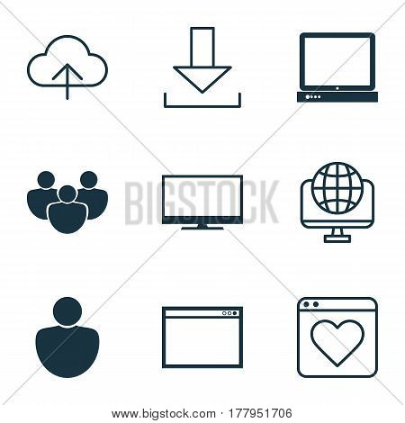 Set Of 9 World Wide Web Icons. Includes Followed Website, Display, Login And Other Symbols. Beautiful Design Elements.