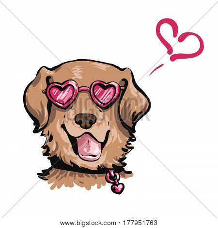 Hand Drawn Vector Portrait Of Funny Dog In The Pink Heart-shaped Sunglasses