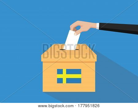 sweden vote election concept illustration with people voter hand gives votes insert to boxes election with long shadow flat style vector poster