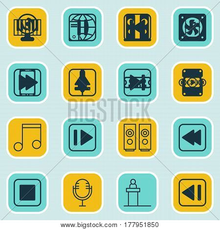 Set Of 16 Audio Icons. Includes Note, Audio Mobile, Rewind Back And Other Symbols. Beautiful Design Elements.