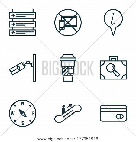 Set Of 9 Traveling Icons. Includes Video Surveillance, Baggage Research, Plastic Card And Other Symbols. Beautiful Design Elements.