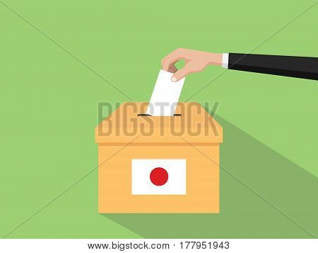 japan vote election concept illustration with people voter hand gives votes insert to boxes election with long shadow flat style vector