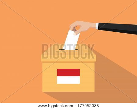 indonesia vote election concept illustration with people voter hand gives votes insert to boxes election with long shadow flat style vector