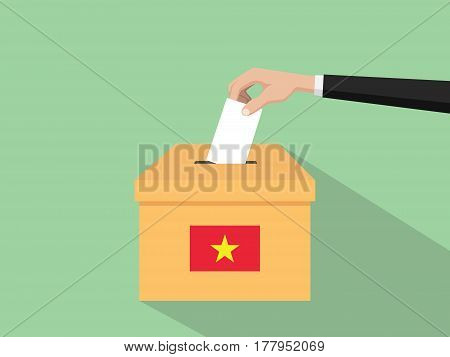 vietnam vote election concept illustration with people voter hand gives votes insert to boxes election with long shadow flat style vector