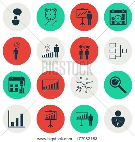 Set Of 16 Authority Icons. Includes Personal Character, Project Targets, Decision Making And Other Symbols. Beautiful Design Elements.