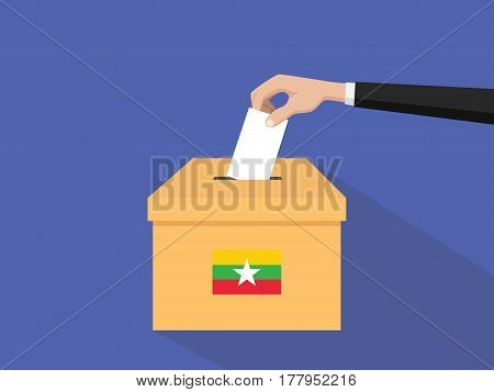 burma vote election concept illustration with people voter hand gives votes insert to boxes election with long shadow flat style vector