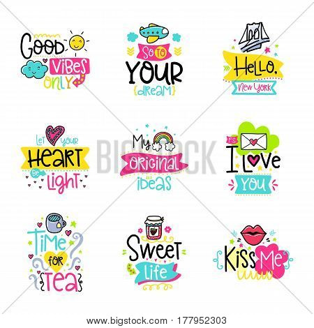 Vector calligraphy with decor elements. Hand drawn lettering collection. Funny color posters. Design for t-shirt and prints.