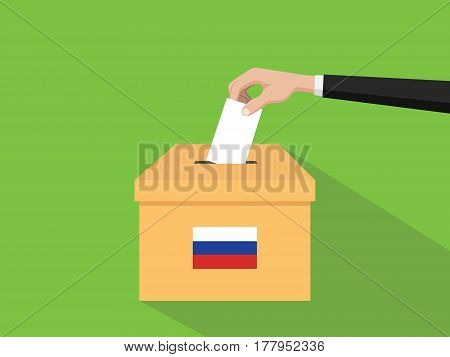 russia vote election concept illustration with people voter hand gives votes insert to boxes election with long shadow flat style vector