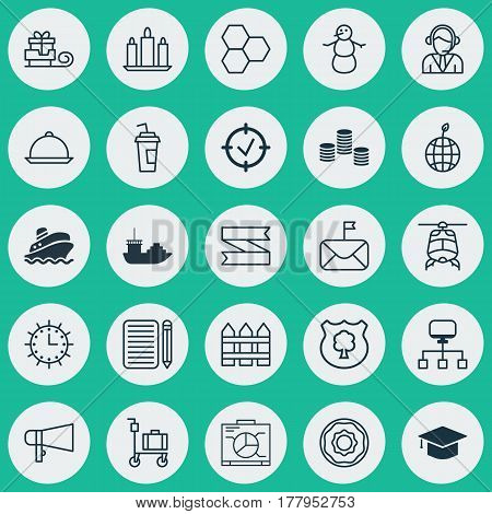 Set Of 25 Universal Editable Icons. Can Be Used For Web, Mobile And App Design. Includes Elements Such As Dining, Local Connection, Board And More.