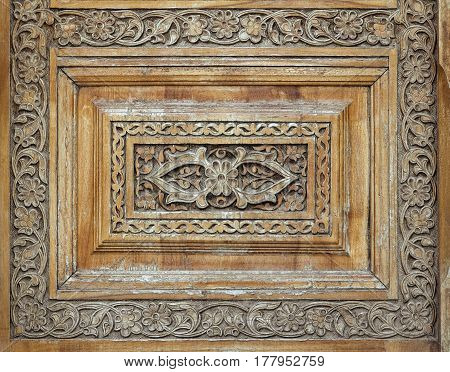 Close-up of a traditional carved wooden door, Uzbekistan