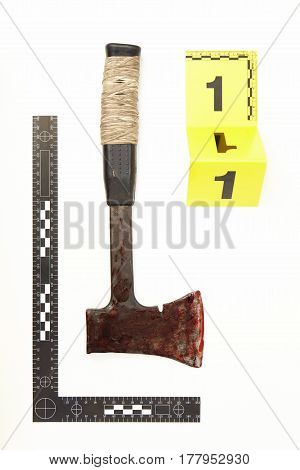 Bloody axe as a evidence of violent crime