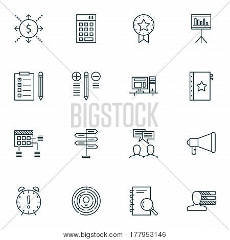 Set Of 16 Project Management Icons. Includes Reminder, Presentation, Warranty And Other Symbols. Beautiful Design Elements.