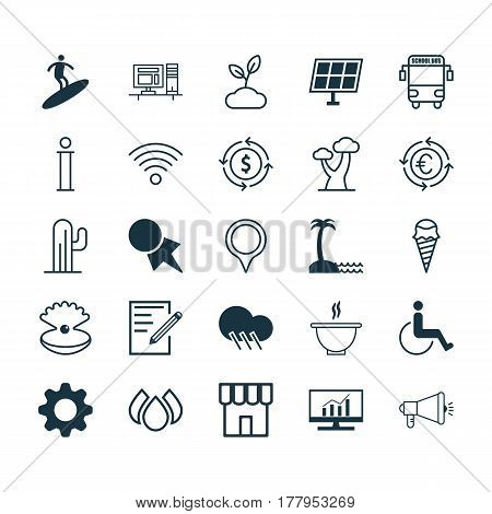 Set Of 25 Universal Editable Icons. Can Be Used For Web, Mobile And App Design. Includes Elements Such As Information, Currency Recycle, Wireless Communications And More.