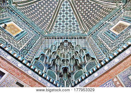 Decorated ceiling of Kusam-ibn-Abbas mausoleum in Shah-i-Zinda, a muslim necropolis in Samarkand, Uzbekistan