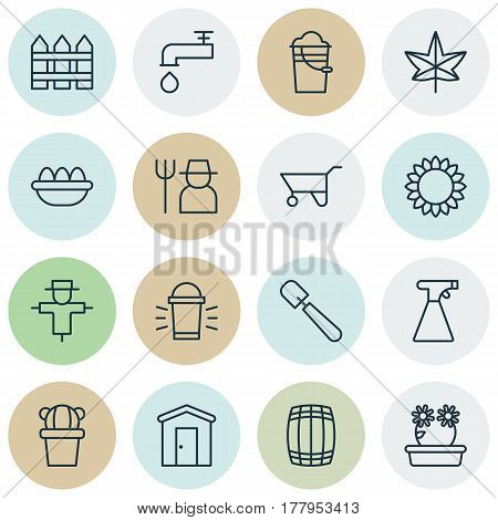 Set Of 16 Holticulture Icons. Includes Bucket, Farmhouse, Floweret And Other Symbols. Beautiful Design Elements.