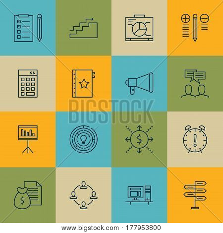 Set Of 16 Project Management Icons. Includes Money, Discussion, Growth And Other Symbols. Beautiful Design Elements.