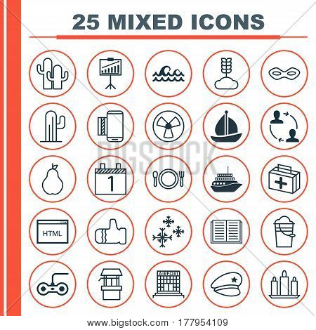 Set Of 25 Universal Editable Icons. Can Be Used For Web, Mobile And App Design. Includes Elements Such As Duchess, Cooperation, Report Demonstration And More.