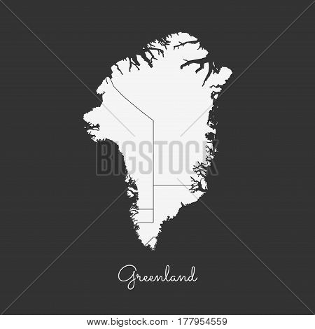Greenland Region Map: White Outline On Grey Background. Detailed Map Of Greenland Regions. Vector Il