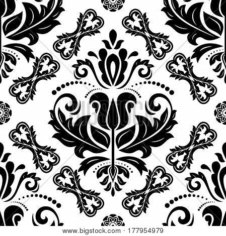 Seamless baroque black and white pattern. Traditional classic orient ornament
