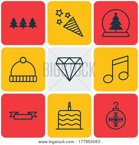 Set Of 9 Christmas Icons. Includes Celebration Cake, Holiday Ornament, Magic Sphere And Other Symbols. Beautiful Design Elements.